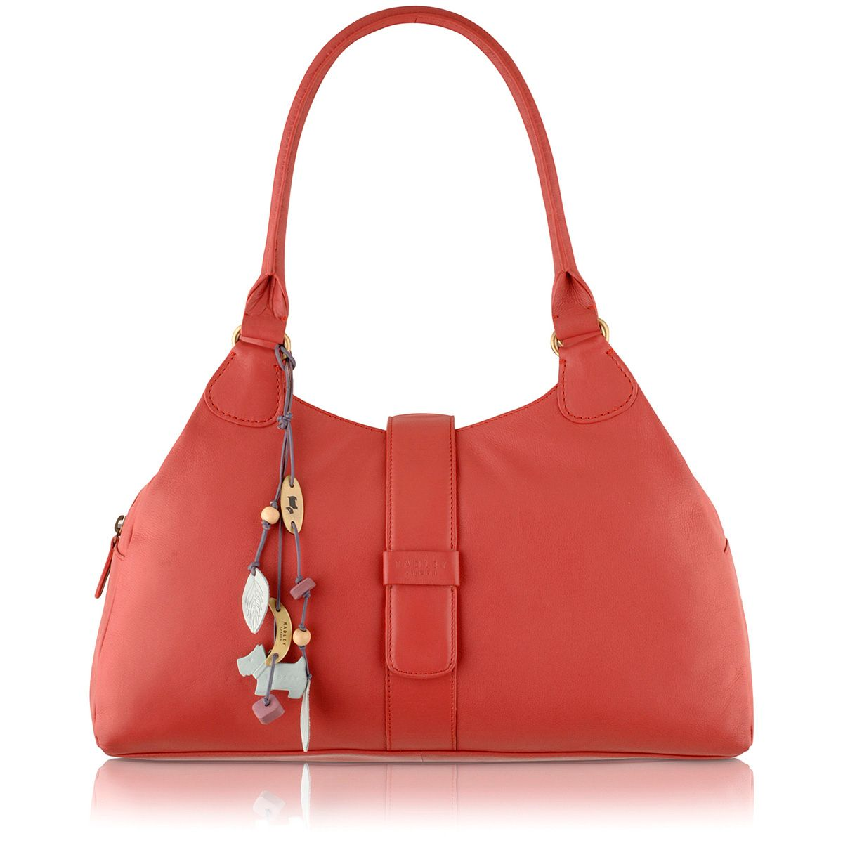 Danby pink large leather zip top tote bag
