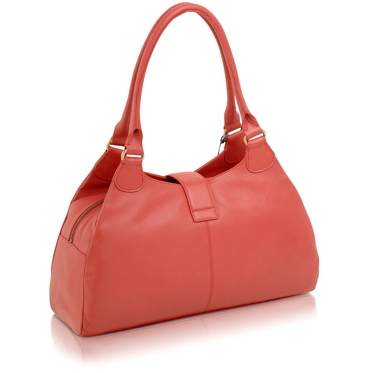 Pink large leather zip top tote bag