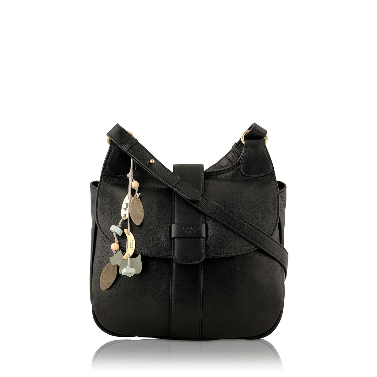 Black leather flapover cross body bag