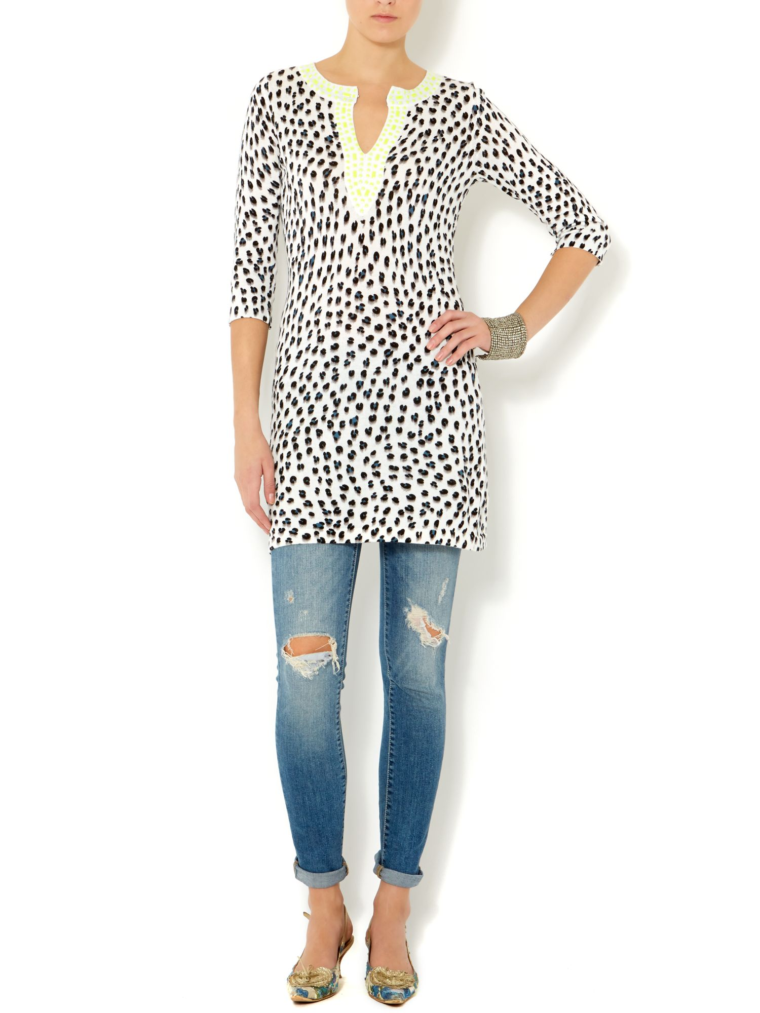 Long sleeved leopard print tunic
