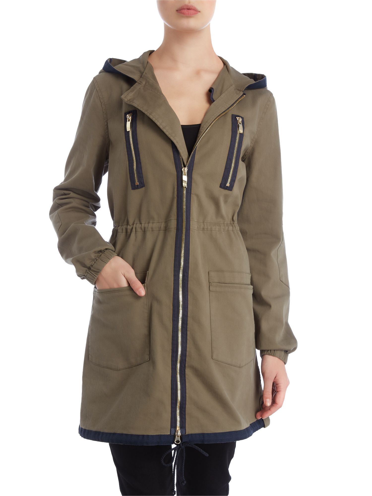 Parka with contrast trim