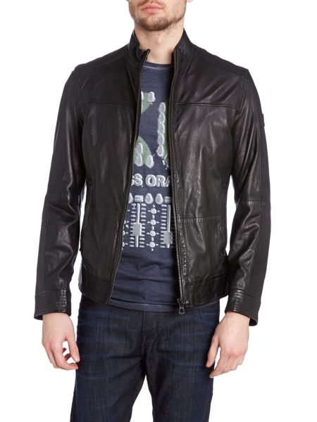 Hugo Boss Leather Zip Up Jacket