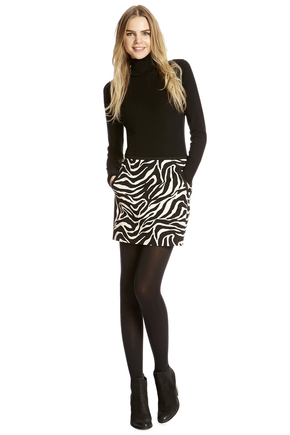 Zebra texture mini skirt