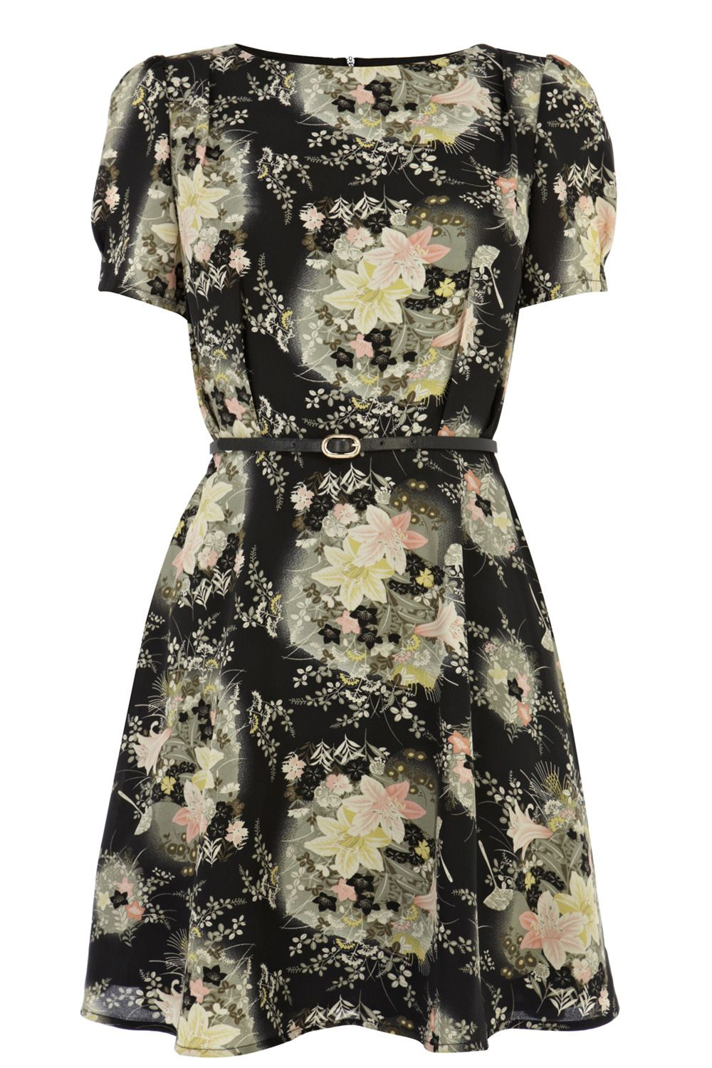 Oriental fan flower dress