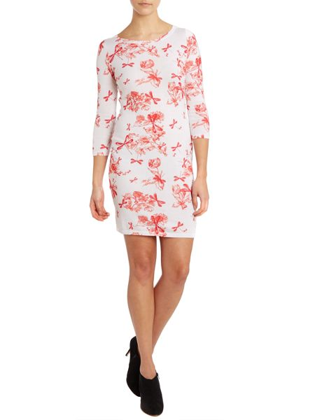 Long sleeve dragonfly print dress