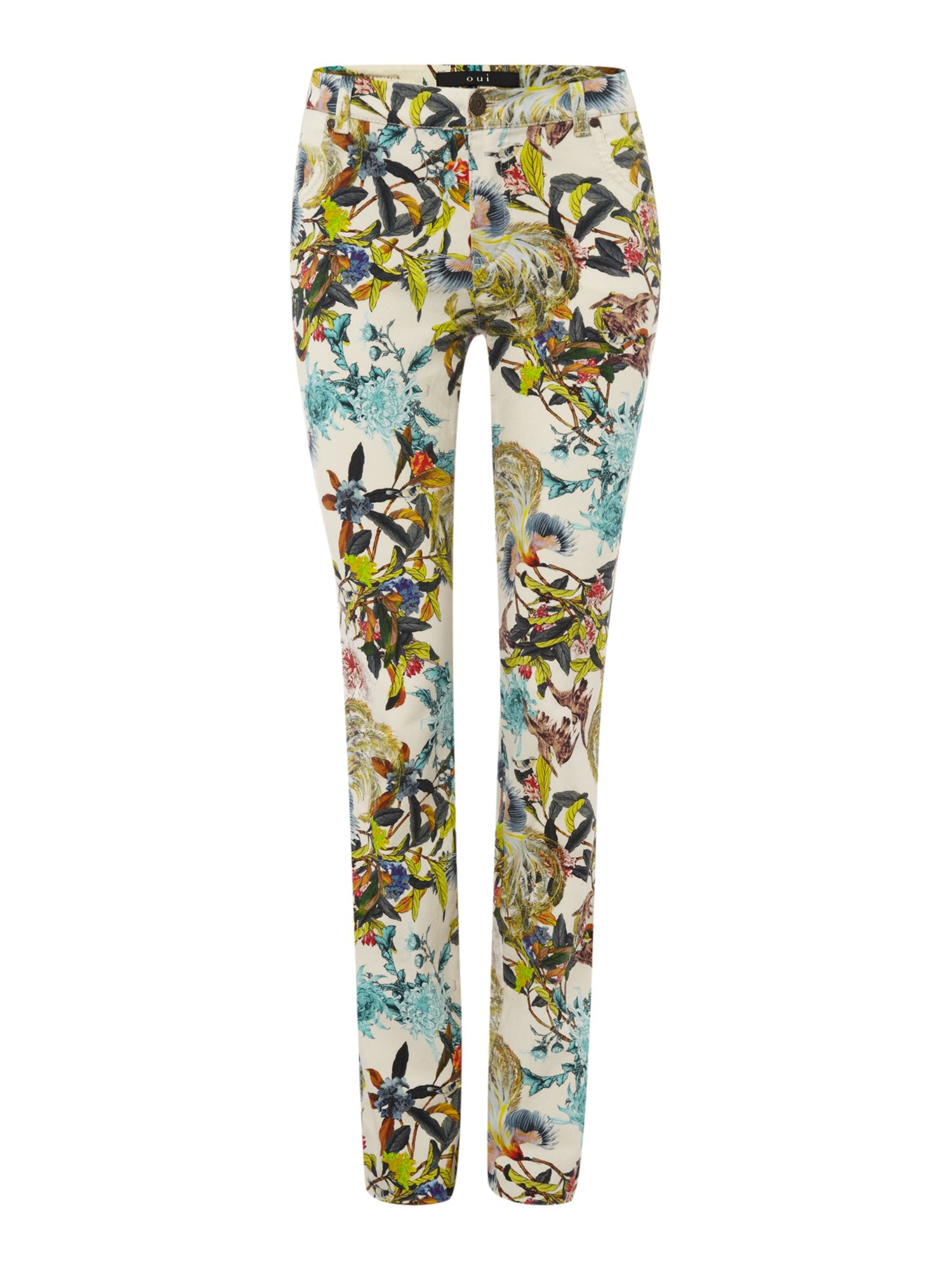 Tropical bird print jean