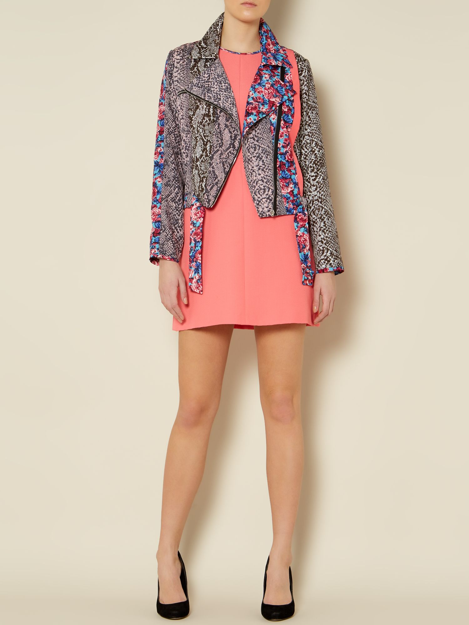 Pontile Leopard and floral biker jacket