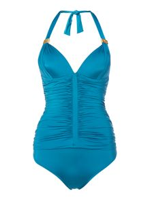 Rouched halterneck swimsuit