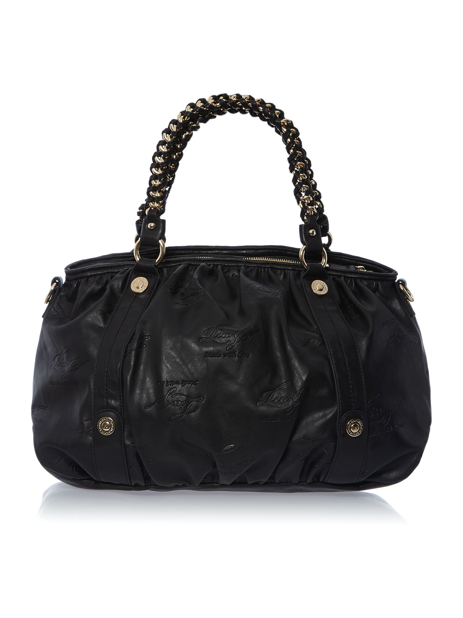 Kate black large chain tote bag