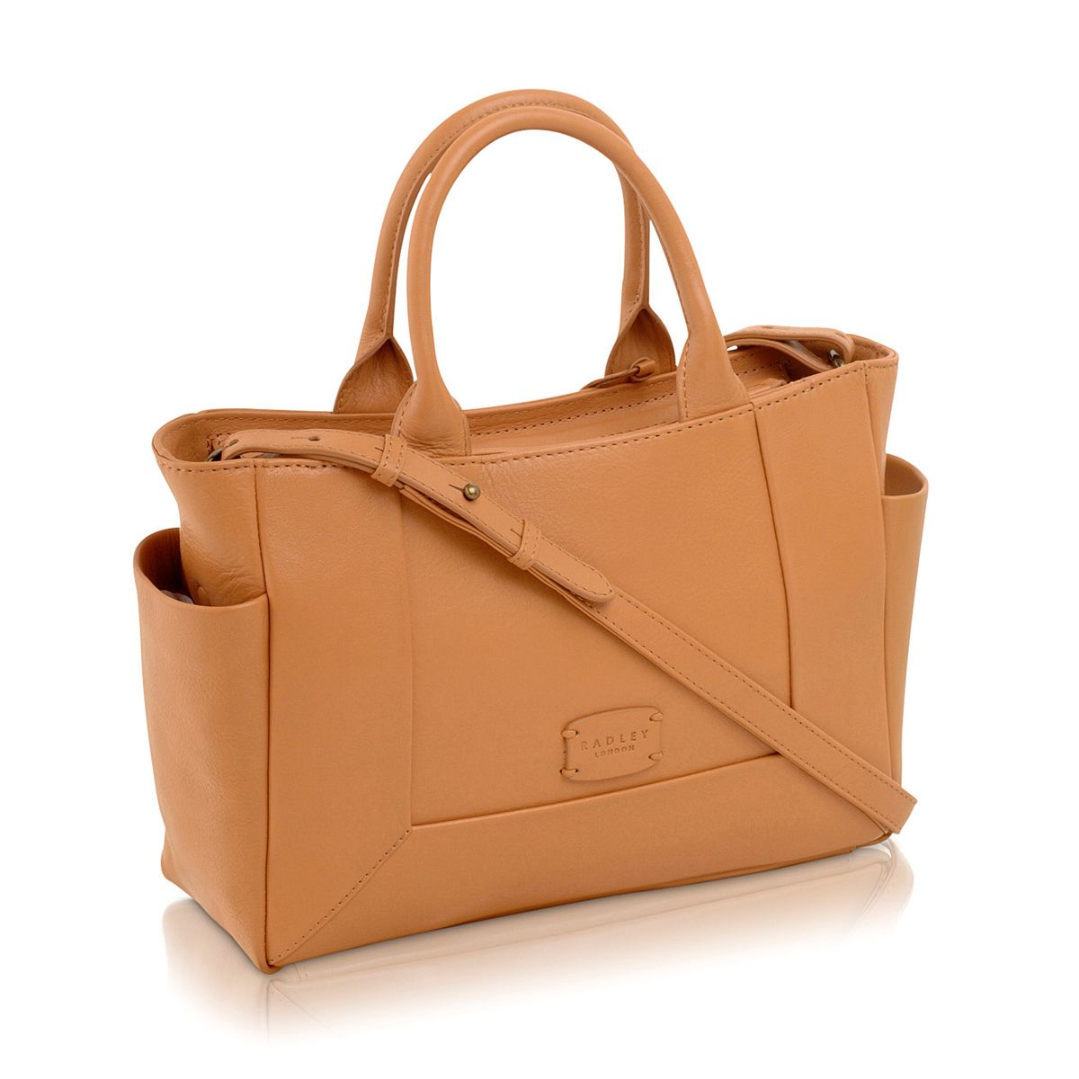 Border tan medium leather cross body tote bag