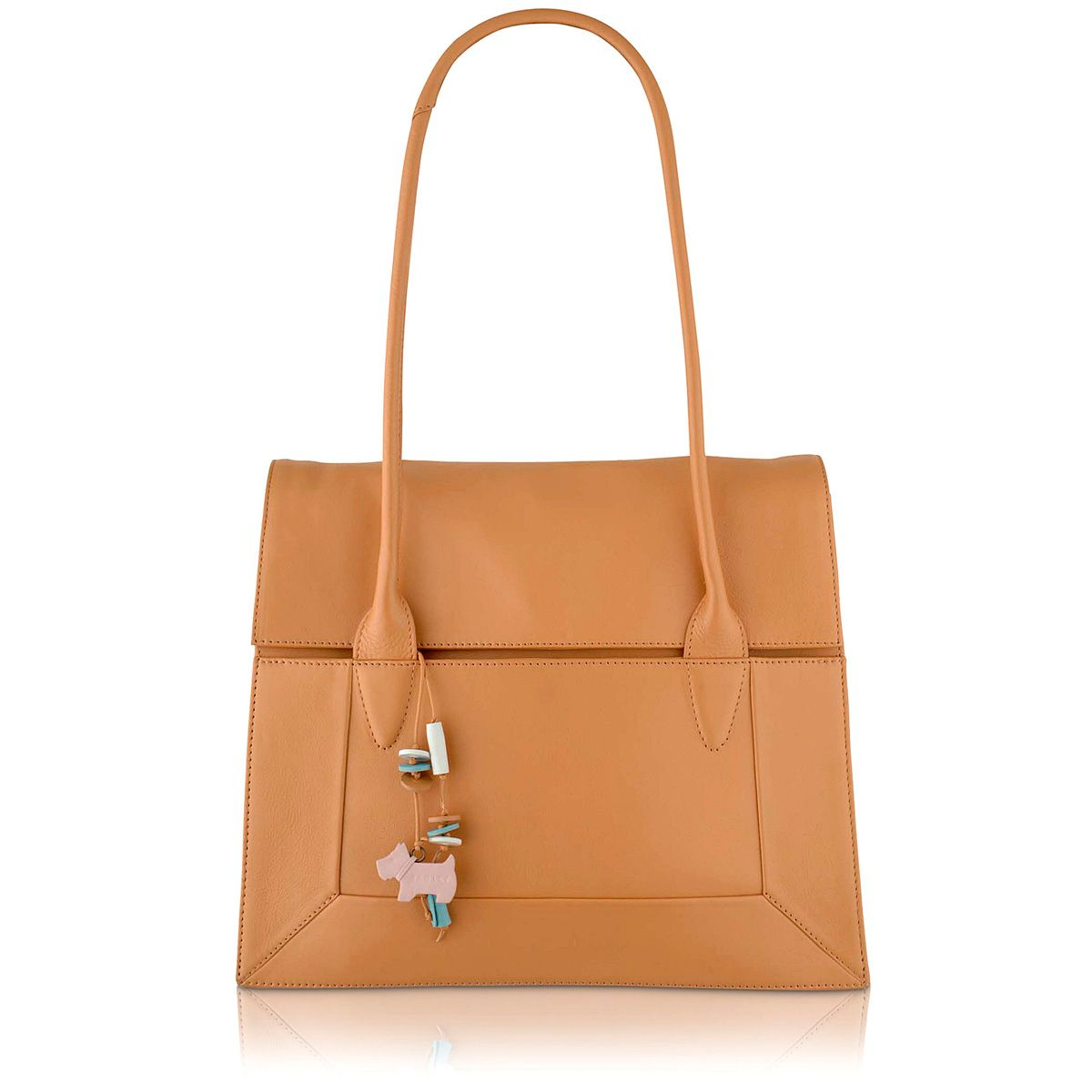 Tan large flapover tote bag