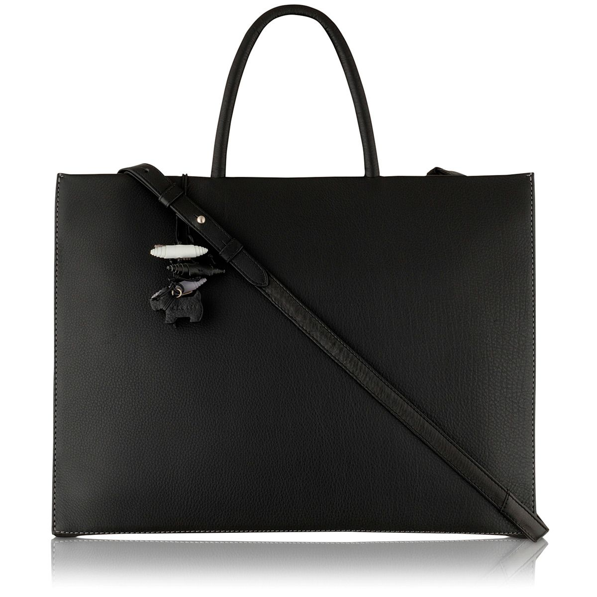 Broad large black leather work bag