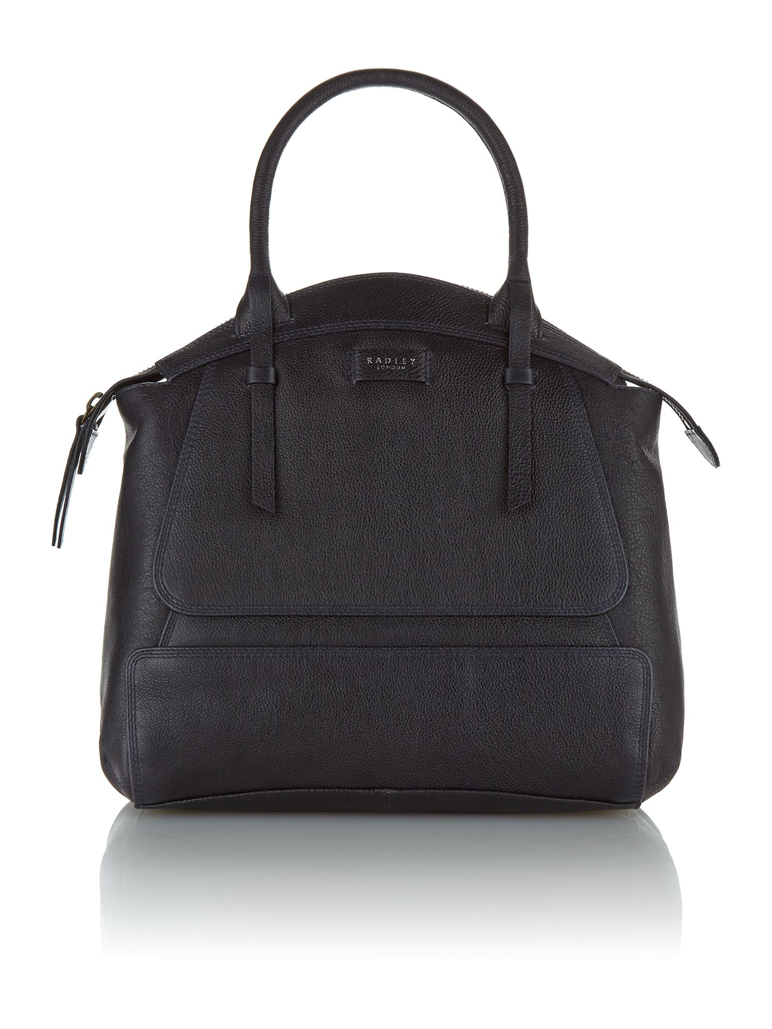 Clayton navy large leather grab bag