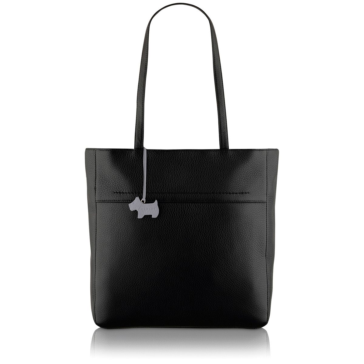 Overton black large leather tote bag