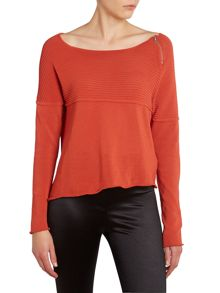 Knitted top with asymmetric hem and zip detail
