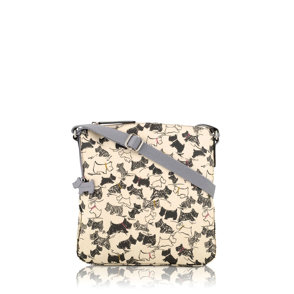 Doodle dog cream medium cross body bag