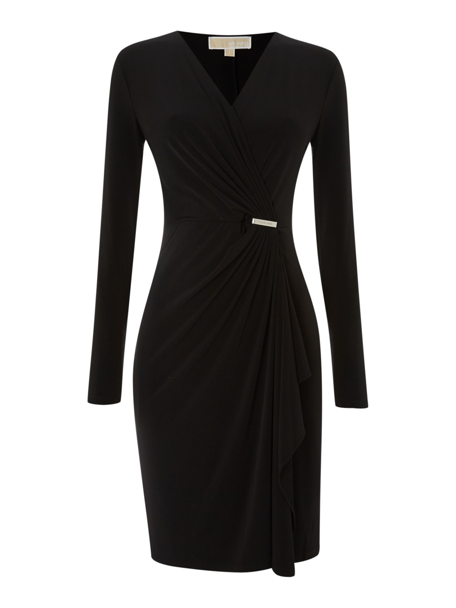 Cross over wrap dress with pin detail