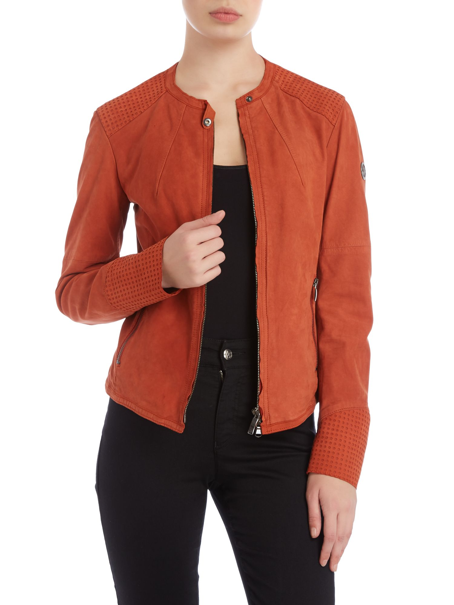 Leather jacket with cut out detail