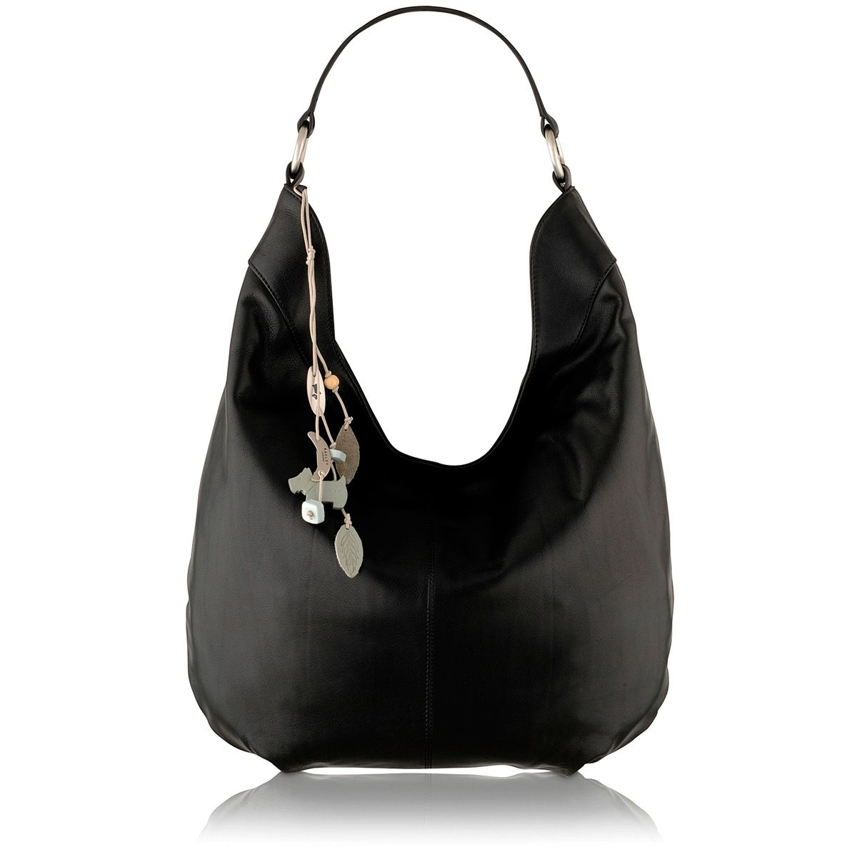 Johnston black large leather scoop shoulder bag