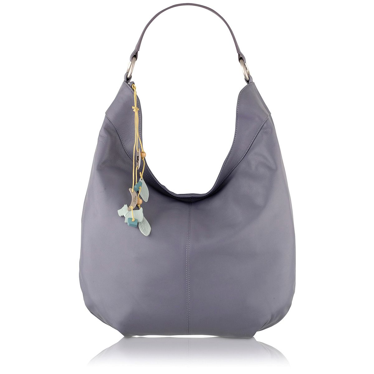 Johnston purple large leather scoop shoulder bag