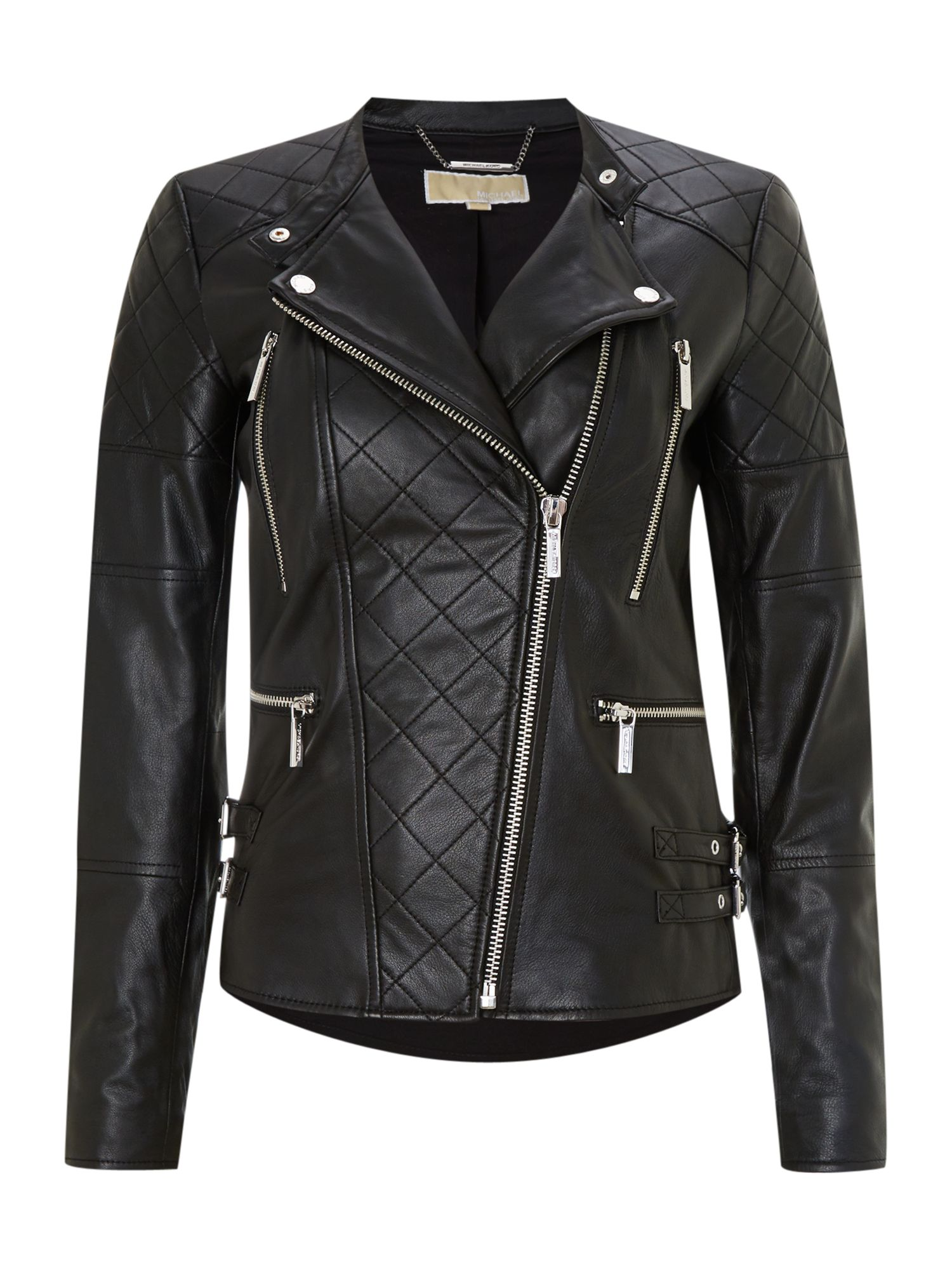 Quilted leather biker jacket