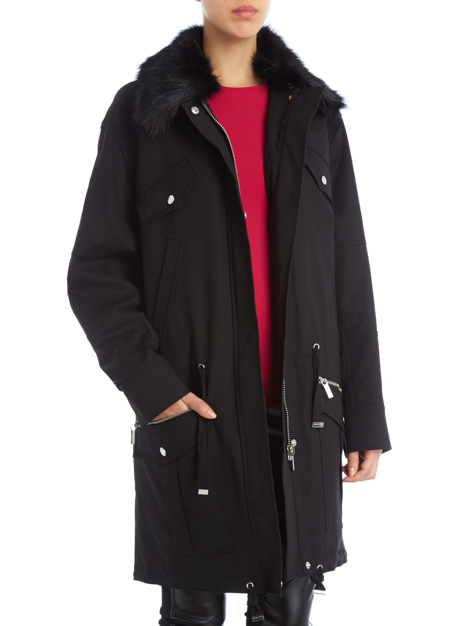 Parka jacket with faux fur trim