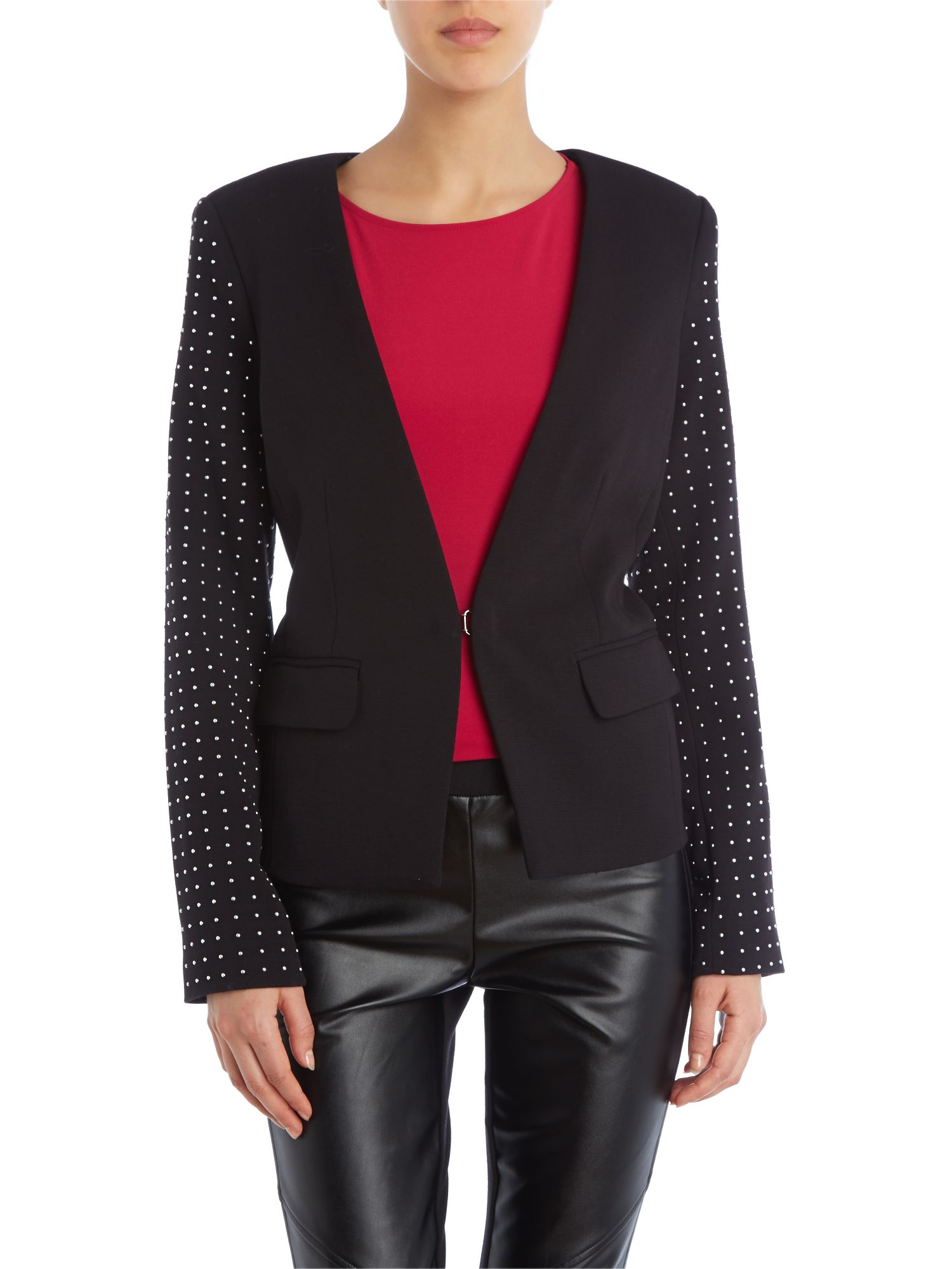 Blazer with studded sleeves