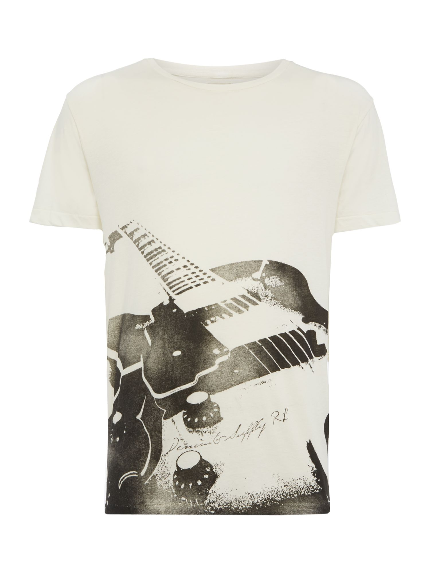 Short sleeve crew guitar print t shirt