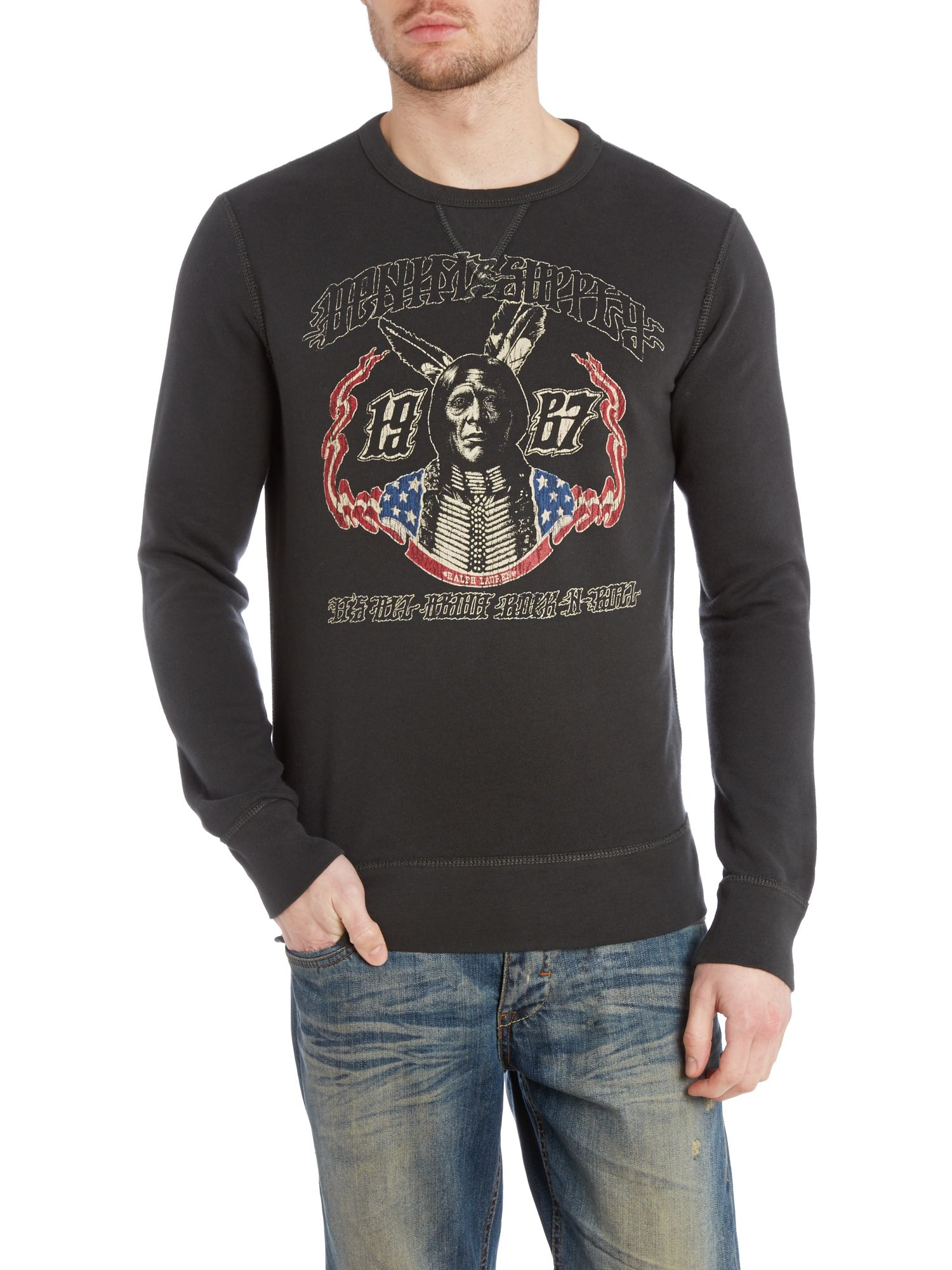 Crew neck native race printed sweatshirt