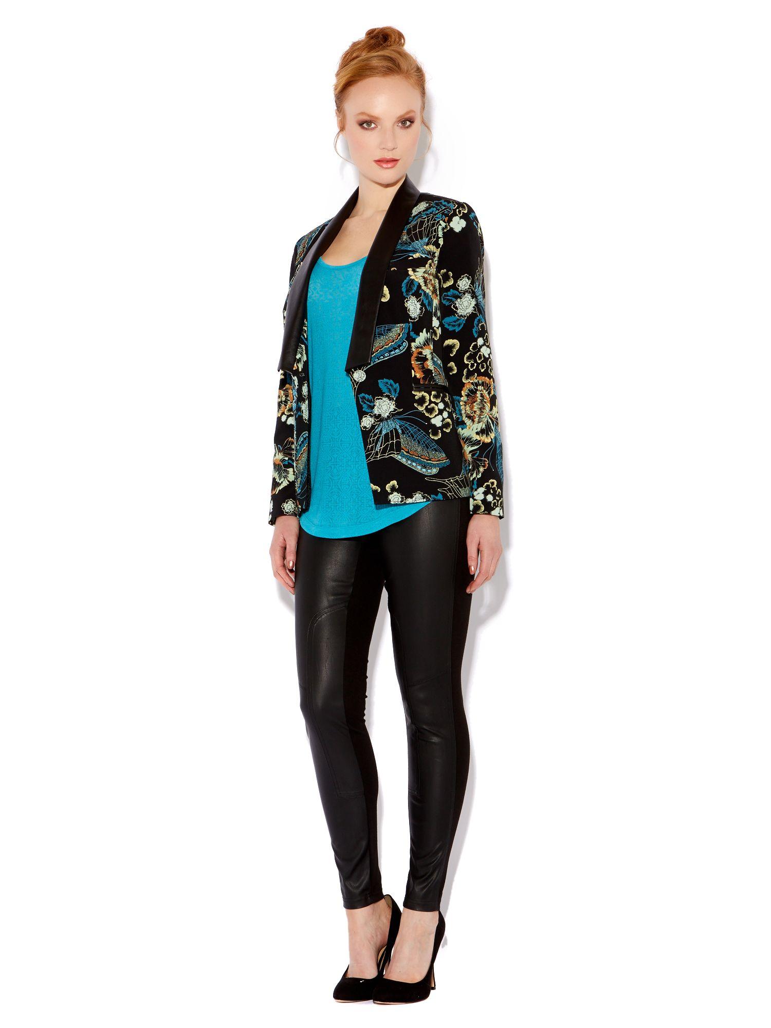 Printed pu trim jacket