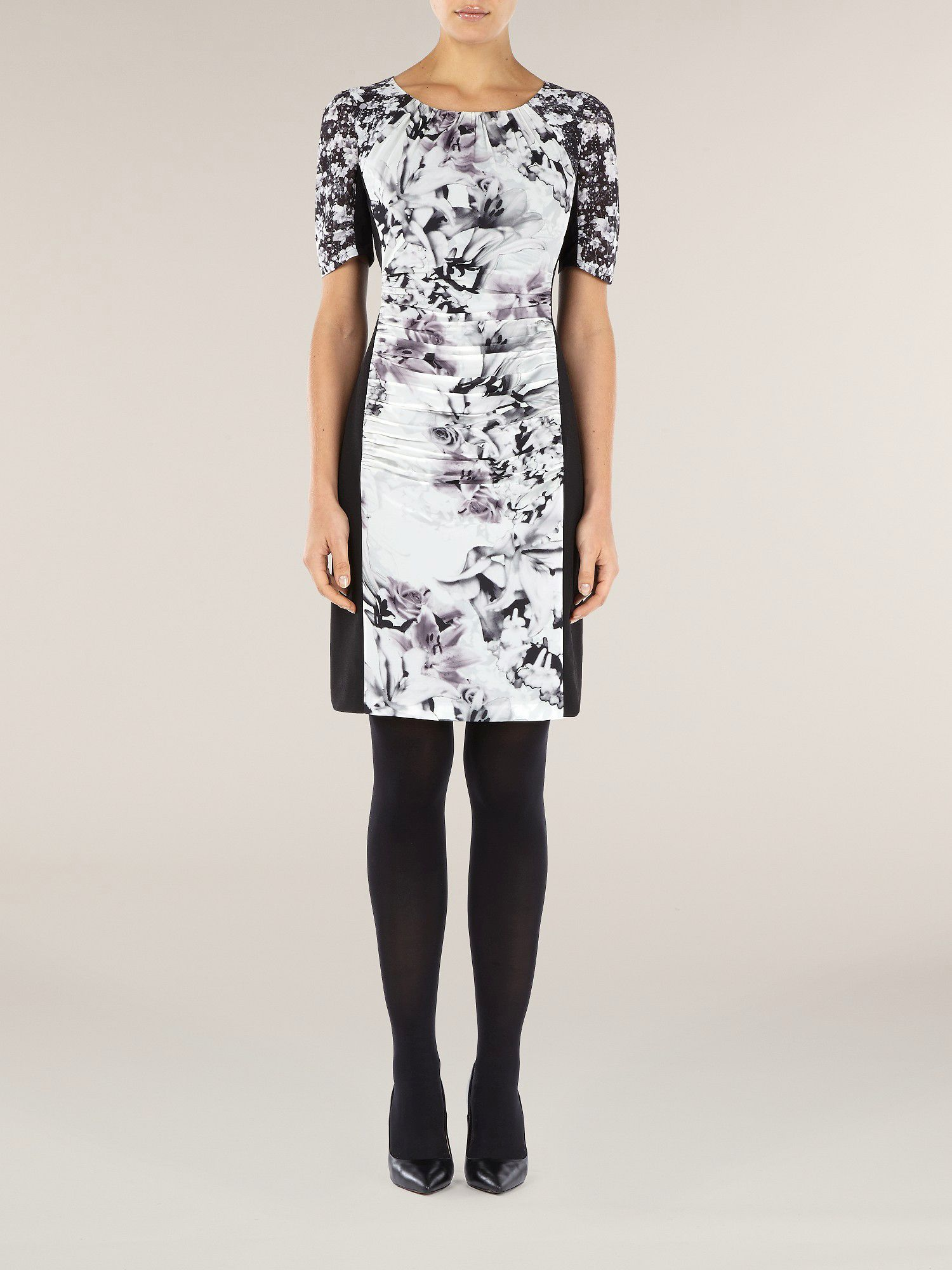 Lily printed panel shift dress