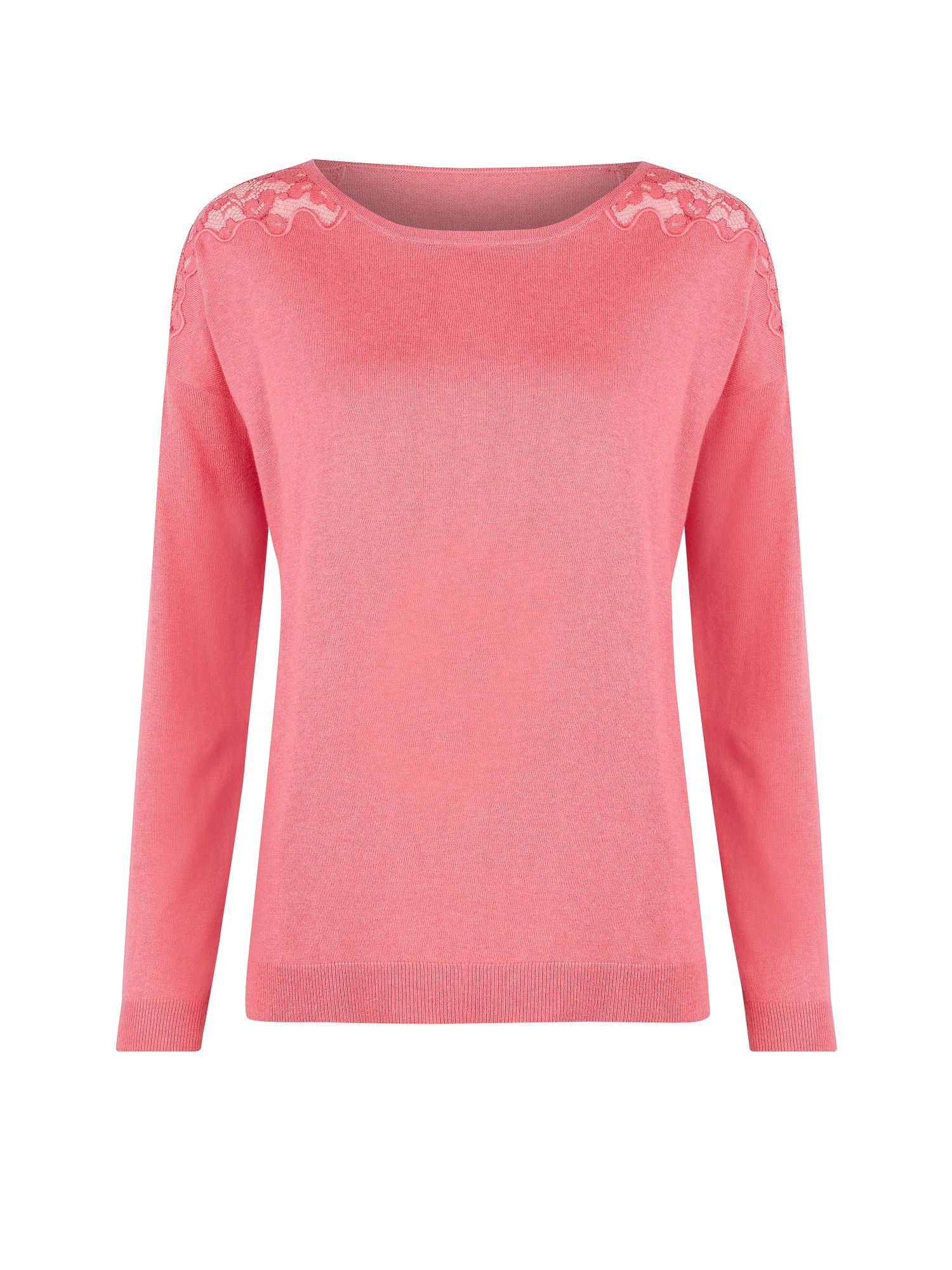Pretty lace shoulder french pink jumper