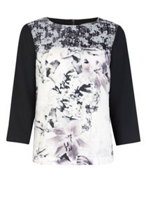 Contrast lily and raindrop printed top