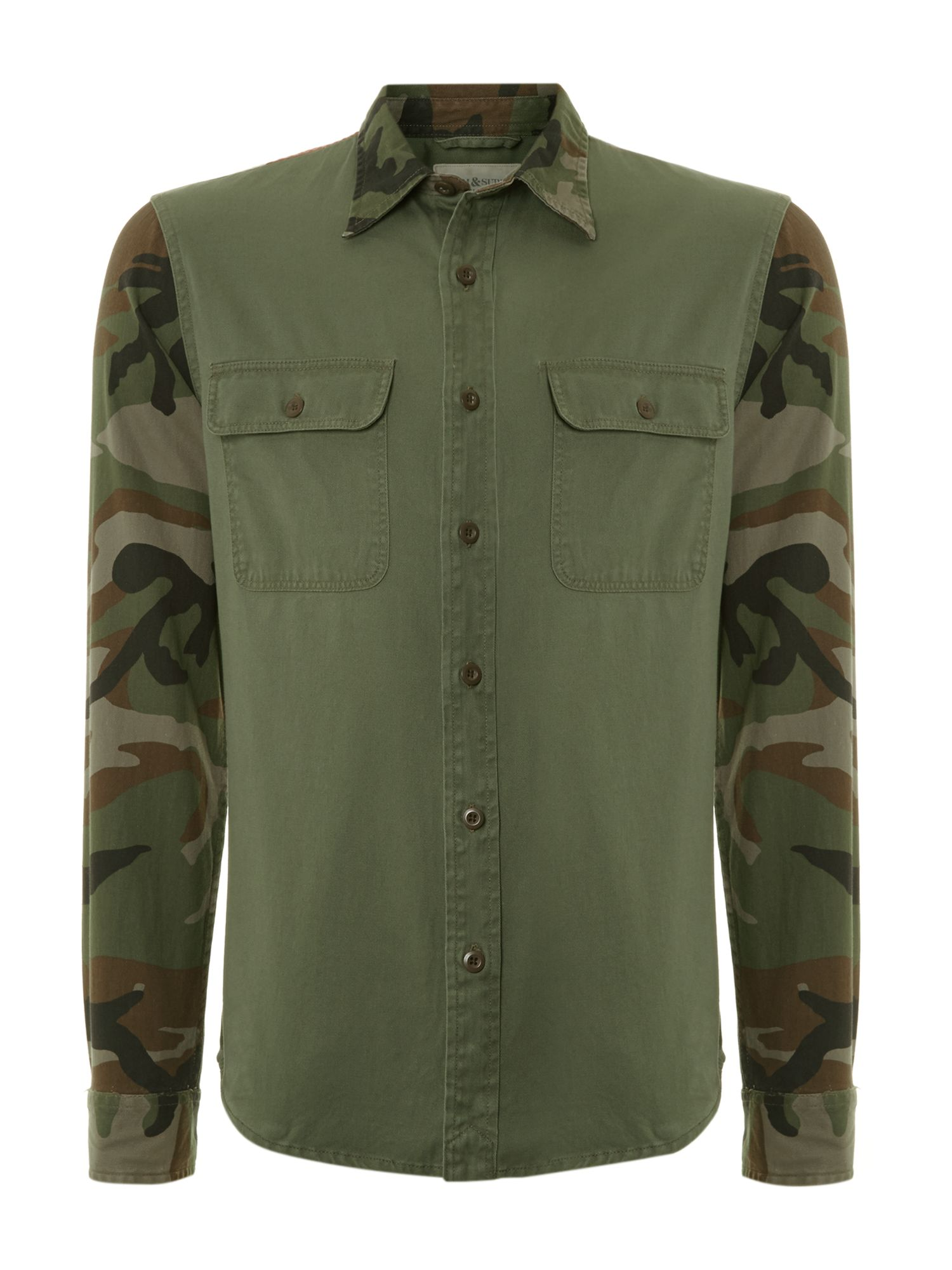 Long sleeve flag and camo shirt