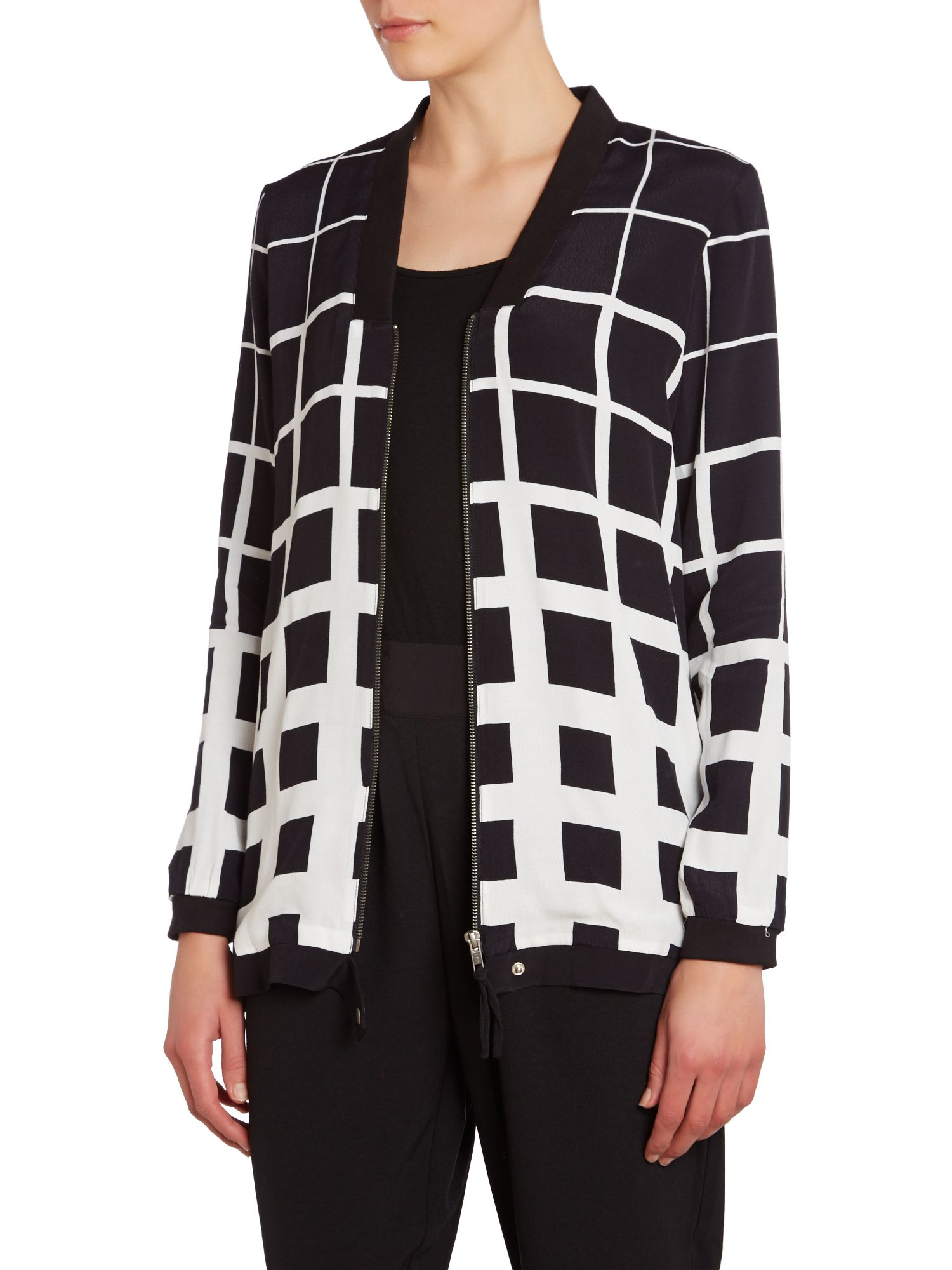 Geo print long bomber jacket