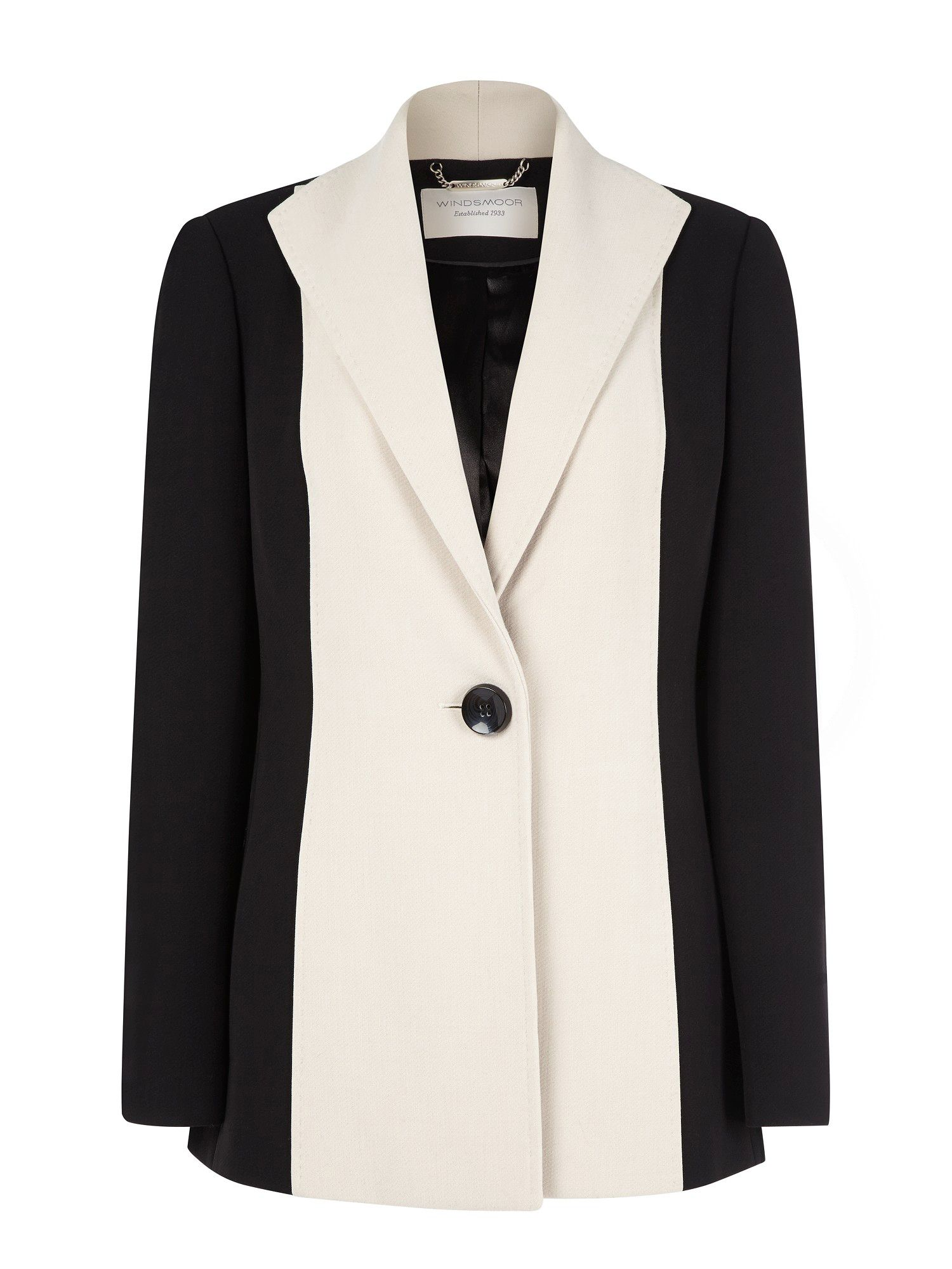 Black & stone long colour block jacket