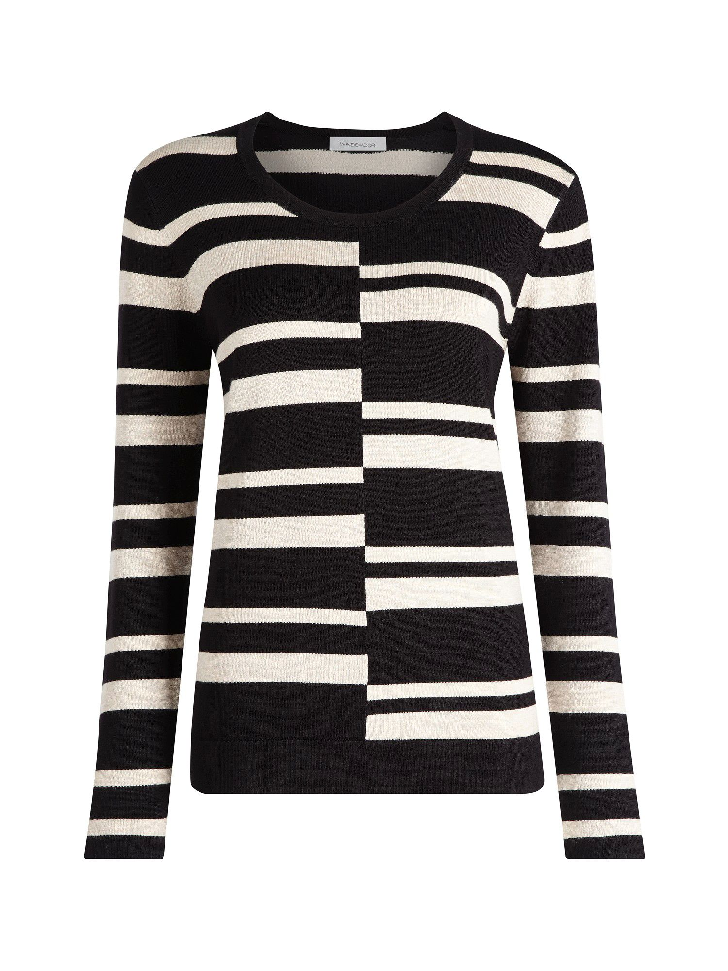 Black & stone step striped jumper