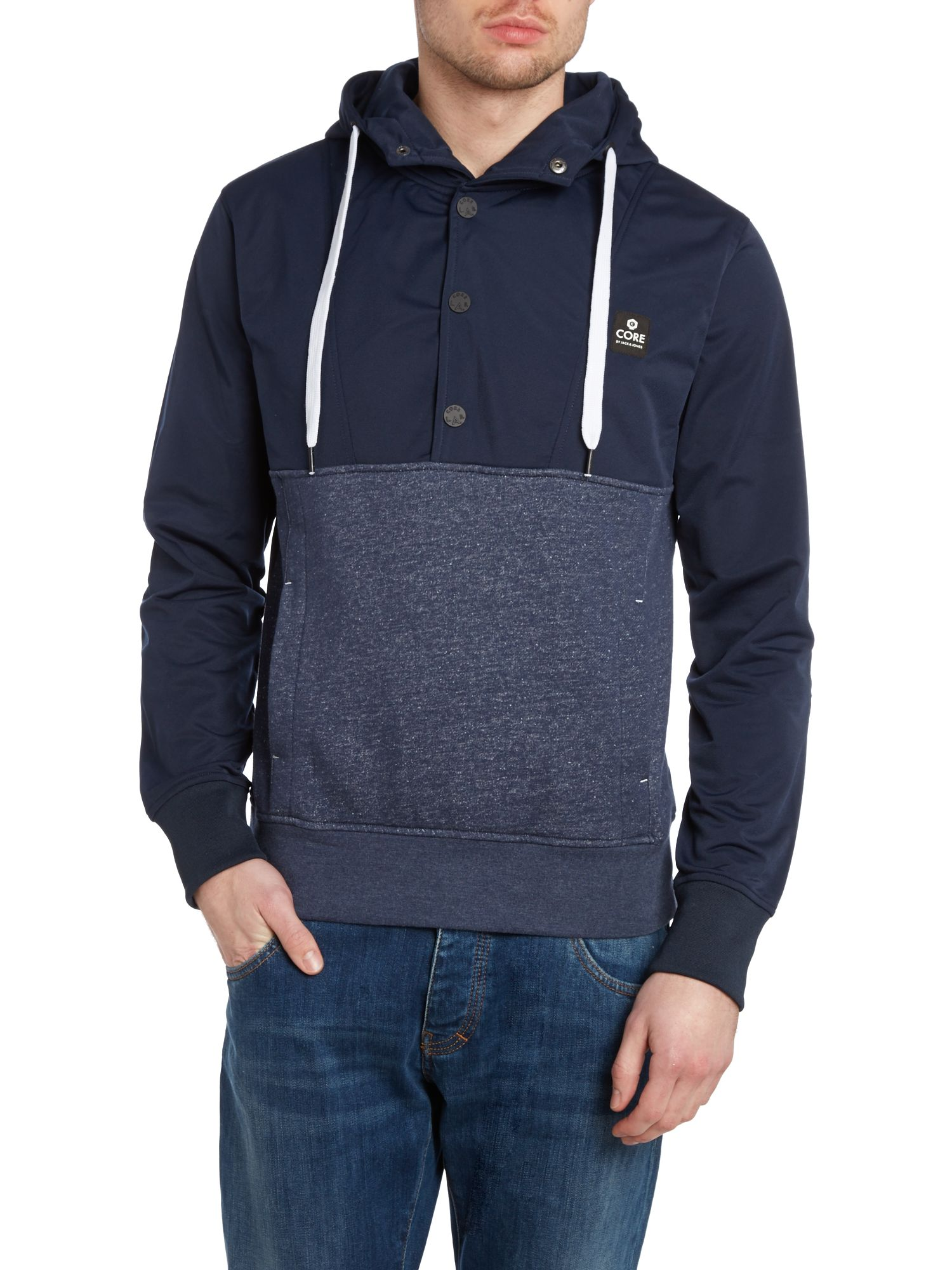 Nylon hooded sweatshirt