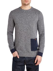 Cord pocket crew knit