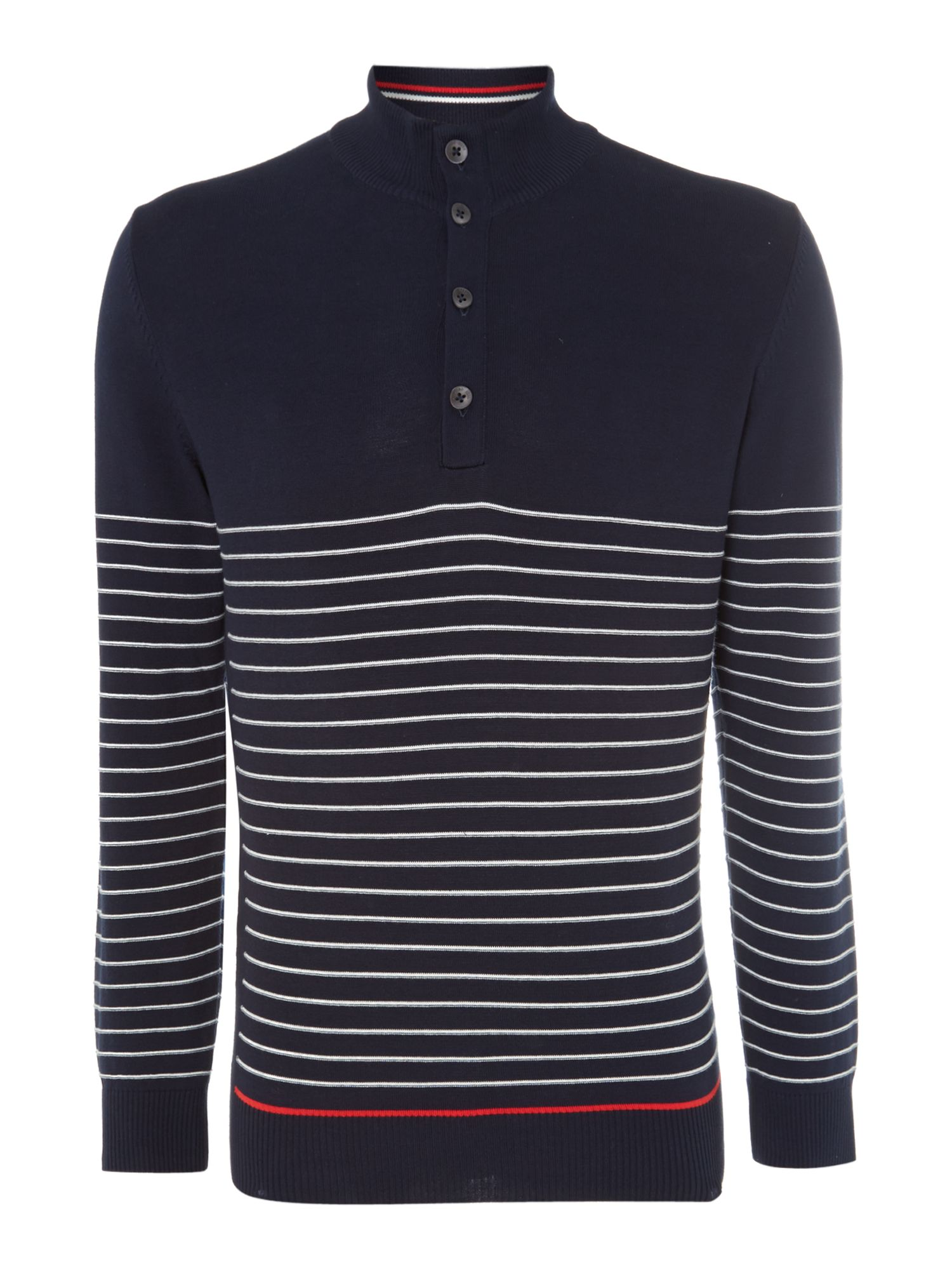 Half zip stripe knitted sweatshirt