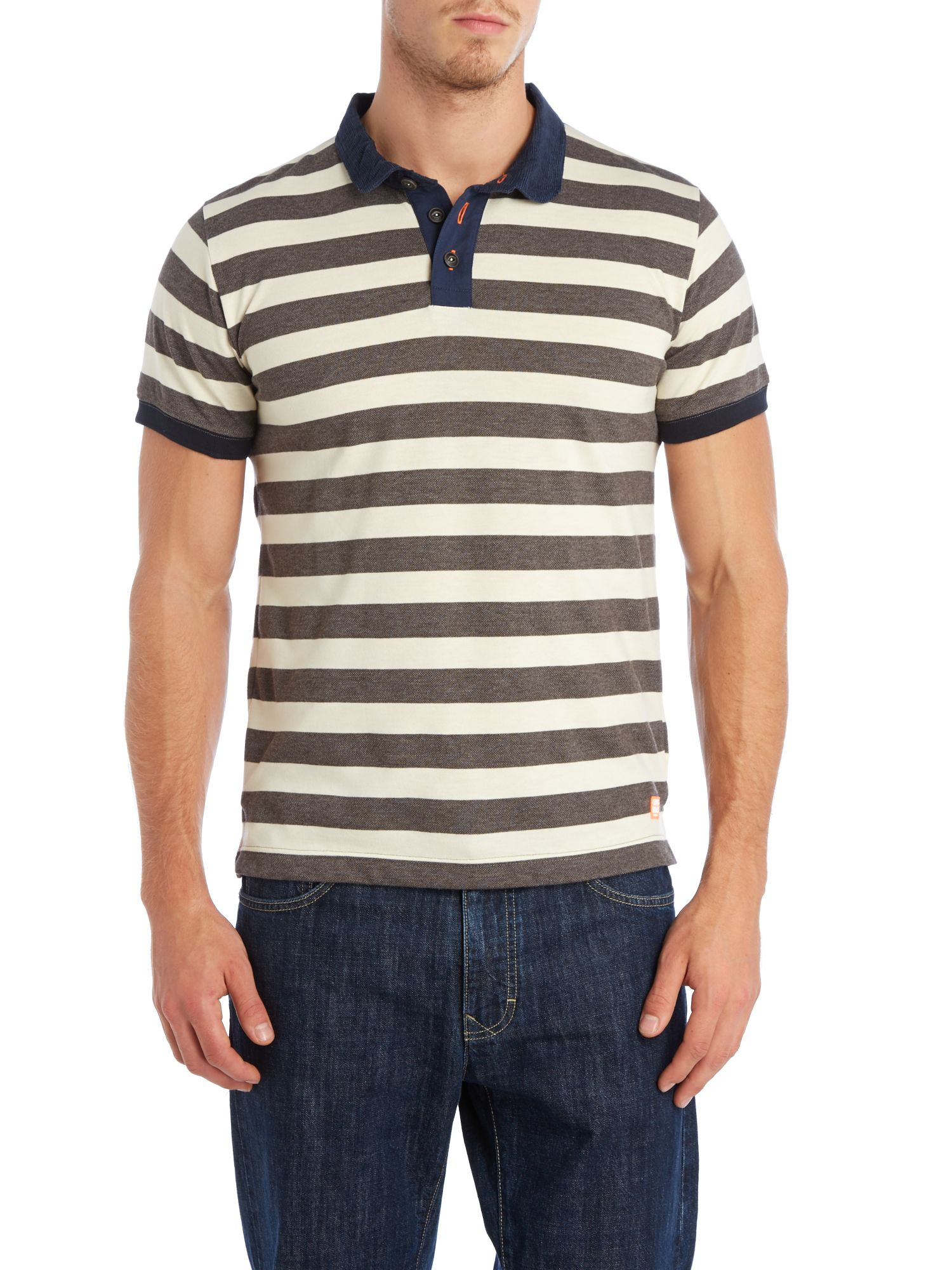 Cord collar striped polo