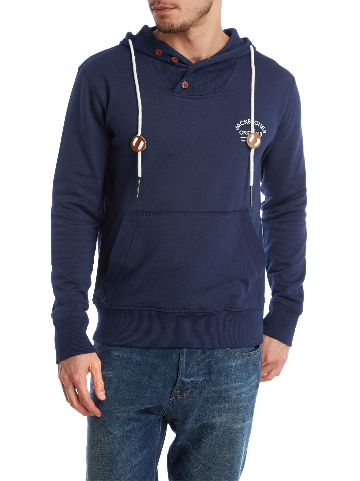 Button hood pull on sweater