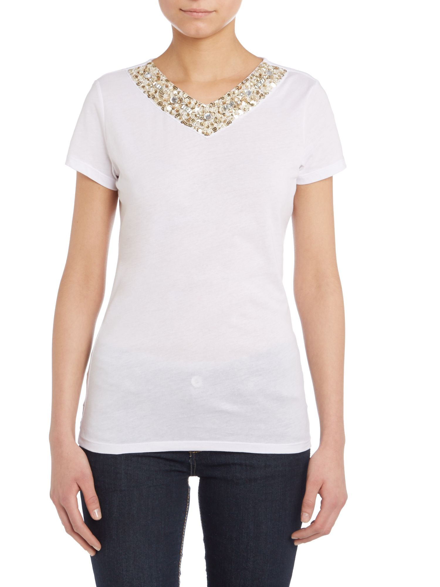 Jersey t-shirt with embellished neck