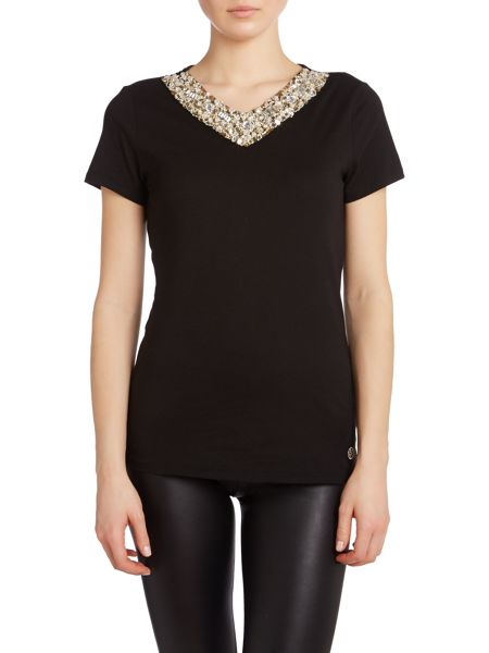 Armani Jeans Jersey t-shirt with embellished neck
