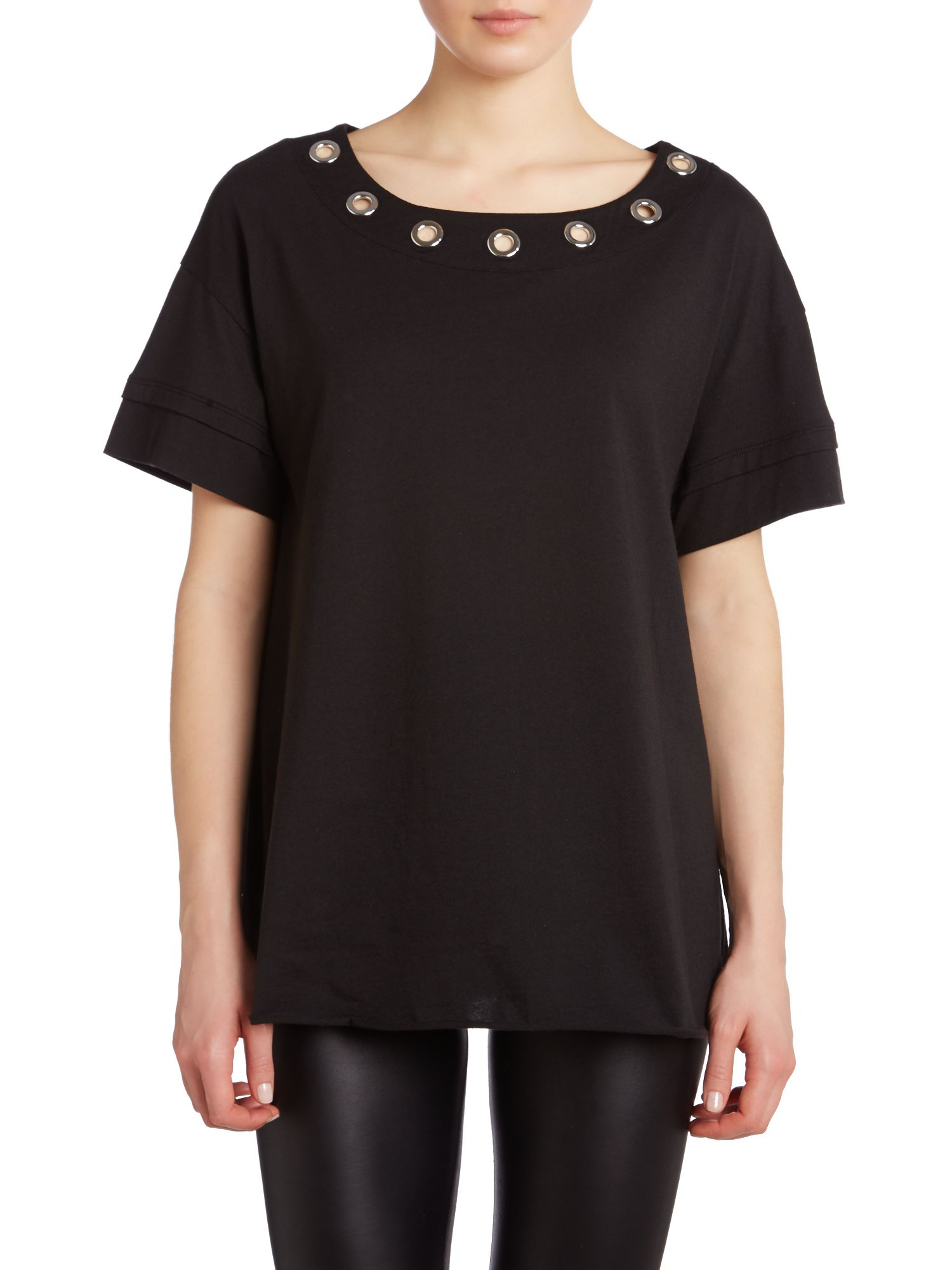 Sleeveless eyelet top with neck detail