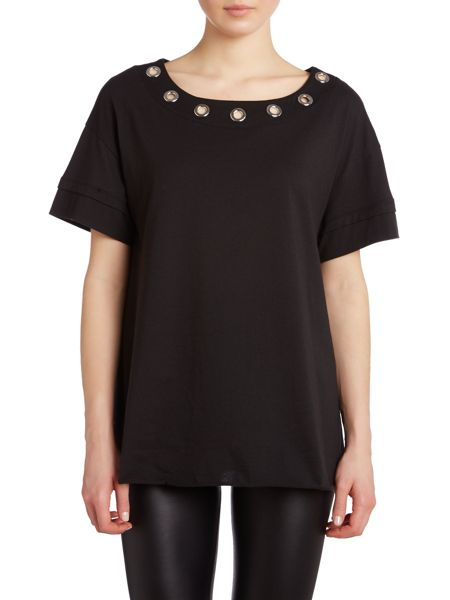 Armani Jeans Sleeveless eyelet top with neck detail