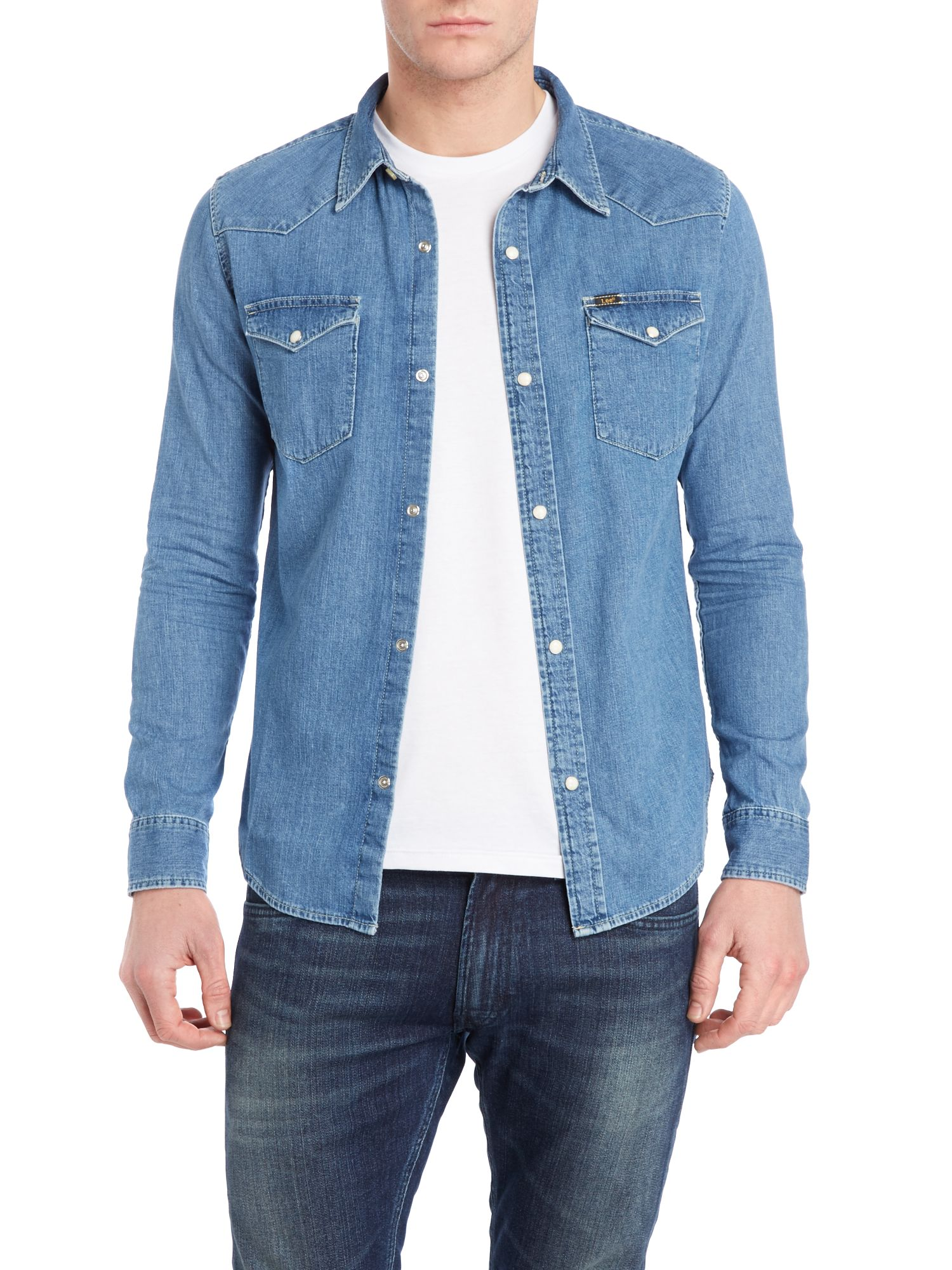 Two pocket light washed denim shirt