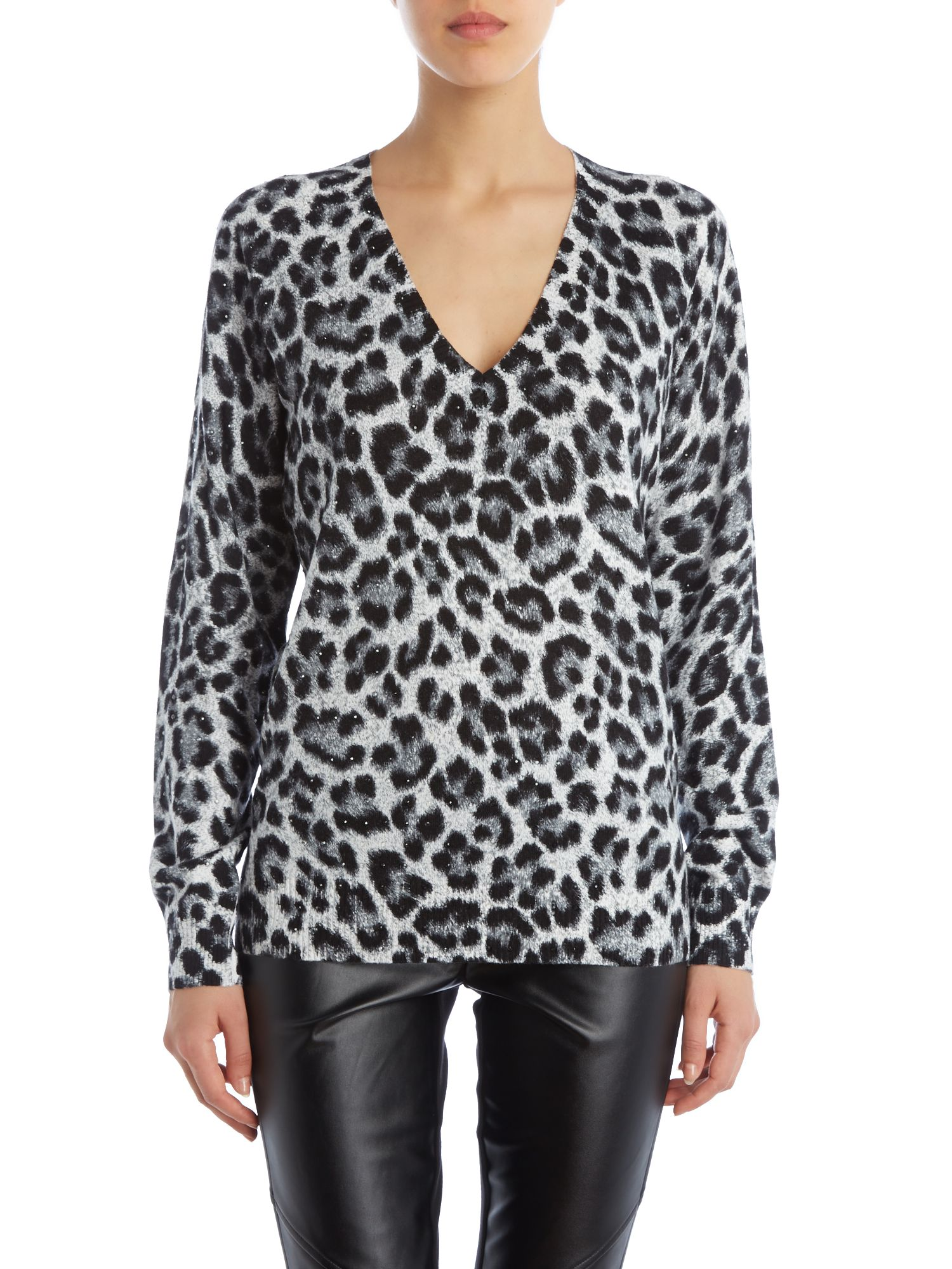 V neck animal print knitted top with stud detail
