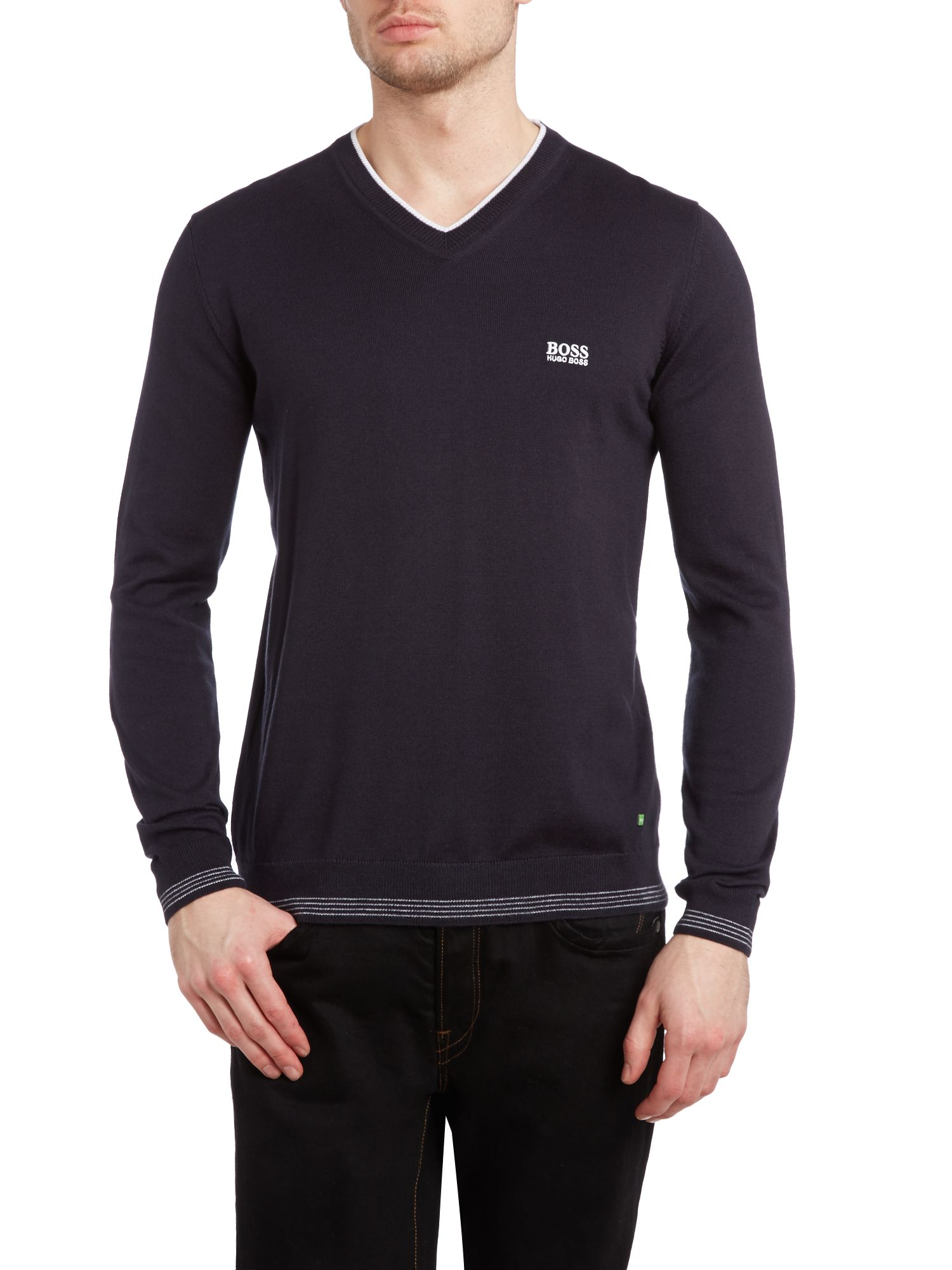 Vee neck logo jumper
