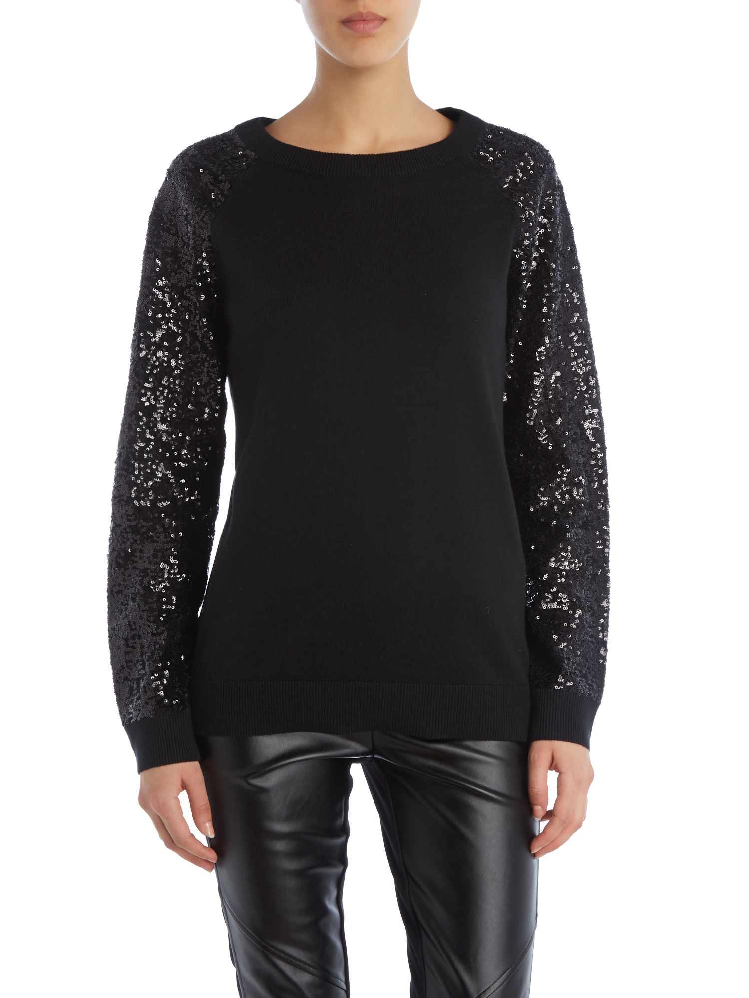 Raglan jumper with sequinned sleeves